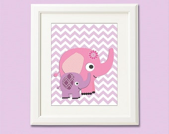 Purple and pink chevron print, nursery Art Print - 8x10 - Chevron, Children art, baby girl wall decor, lilac, elephant - UNFRAMED
