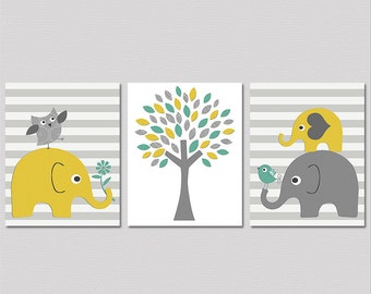 Yellow grey and teal elephant   nursery Art Print Set - 8x10 -  elephant family, baby elephant, aqua, striped, tree  - UNFRAMED