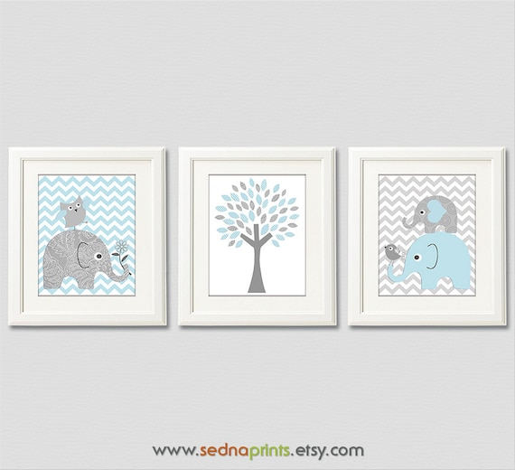 Light blue and grey elephant baby boy print set nursery art for Chambre 8x10
