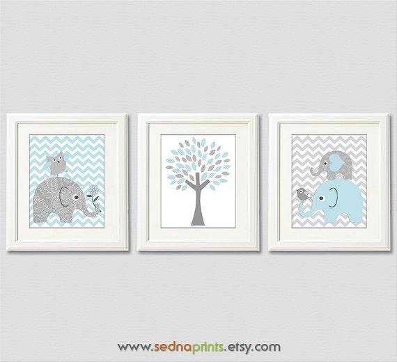 Light blue and grey elephant baby boy print set nursery art for Chambre 8x10