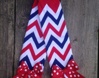Red, White and Blue Chevron, leg warmer,Fourth of July leg warmers, July 4th, baby leg warmer, leg warmer with ribbons, toddler leg warmer