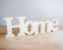 Home decor - wooden word Home // Shabby chic // Decorative word // Minimalist decor // Romantic style // Housewarming gift // Beige white