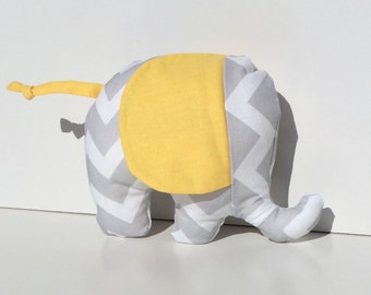 Baby Elephant Plush Toy in Grey chevron and Yellow
