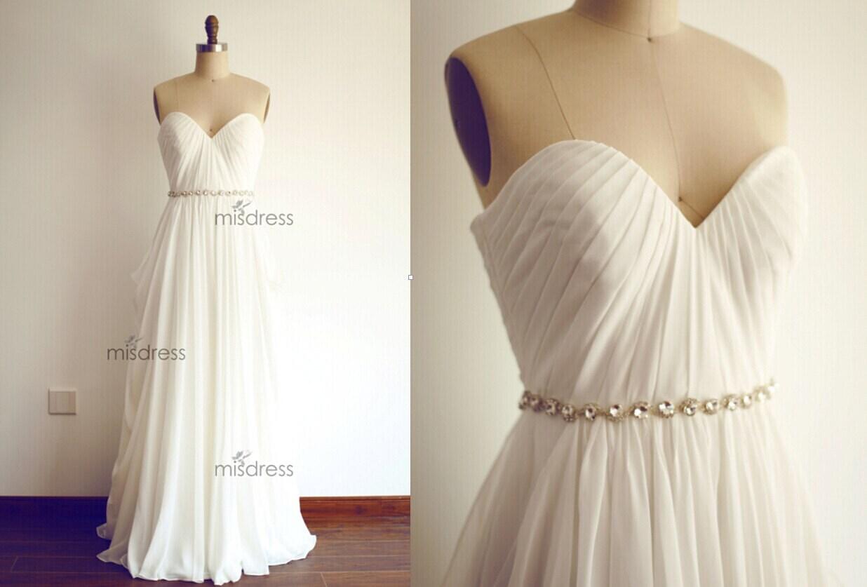 How To Dress Up A Simple Wedding Dress: Simple Chiffon Beach Wedding Dress Strapless Deep By Misdress