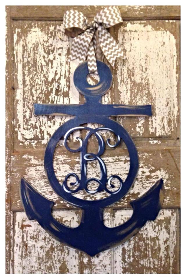 Wooden anchor anchor door hanger nautical wall decor for Anchor door decoration