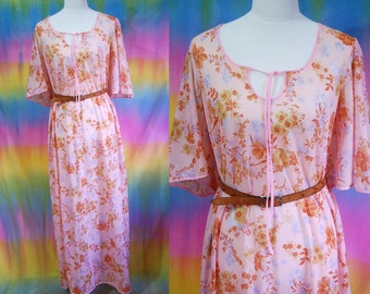 70s Vintage Floral  Dress Long Maxi Retro Negligee Hippie Nightie Sheer Bell Sleeve Pink Vtg 1970s L
