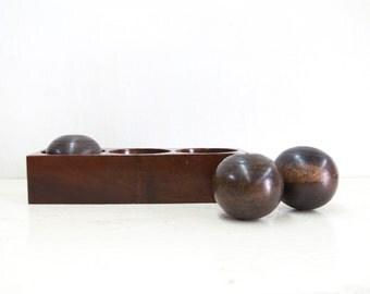 Antique Wooden Bocce Ball Holder