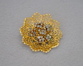 Filigree Flower & Rhinestone Brooch Gold Tone Vintage