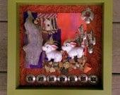 Vintage Donkeys in a Diorama - shadowbox - Western diorama - home decor - unique ceramic donkey display -