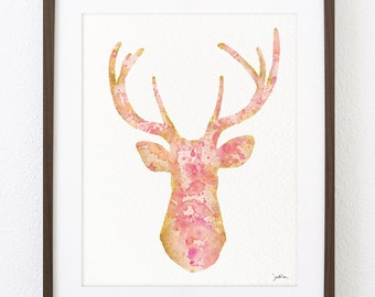 Pink Deer Art Watercolor Painting - 8x10 Archival Print, White-tailed Deer Print - Whimsical Deer Silhouette Art, Wall Decor Wall Art Gifts