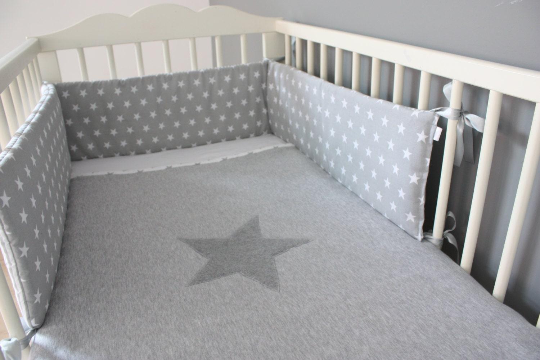 Gray Baby Crib Bumpers : Baby cot bumper grey stars stripes