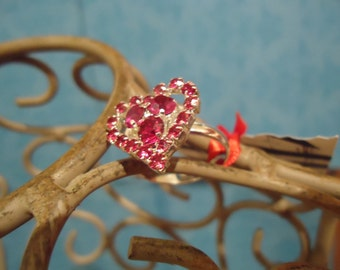 Hot Pink crystal Heart ring