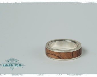 Olive wood and sterling silver mans ring