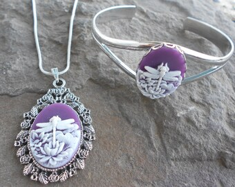 Stunning 2 piece set--white dragonfly (on purple background) cameo necklace and cuff bracelet set!!!! Wonderful Quality!!!!