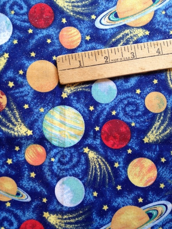 Celestial quilting fabric 1 2 yard sun moon stars by for Planet print fabric