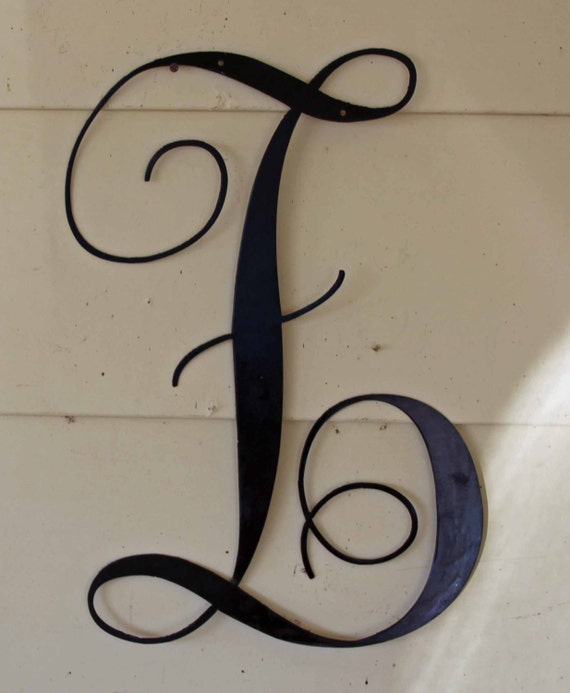 22 inch black script metal letter z door or wall for Black metal house letters