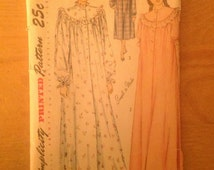 Misses' 1948 nightgown pattern Simplicity 2646 size 14, bust 32, women lingerie sewing pattern, nightie, sleepwear, vintage supply OOP