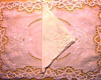 Victorian WHITE embroidered LACE placemats and napkins VINTAGE