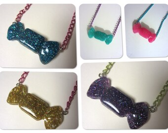 Glittery Resin Candy Necklaces