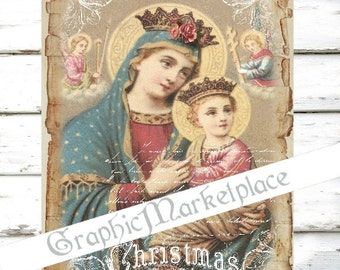 Madonna Christmas Large Image Religious Instant Download Vintage Transfer Fabric digital collage sheet printable No. 1306