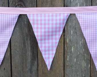 Pink Gingham Fabric Bunting