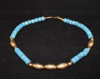 Brass Beaded and Blue Clay Necklace, Vintage