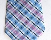 Baby blue and pink rhinestone necktie