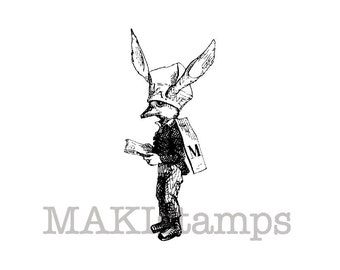 Kids rubber stamp / Bird with Dunce cap / Unmounted rubber stamp (140205)