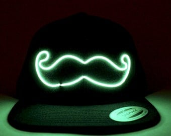Light Up Mustache Hat made with El Wire in all colors; blue, green, orange, yellow, pink, purple, white