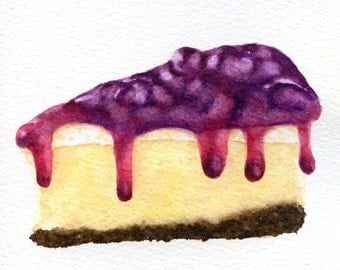 Cheesecake Images Clip Art : Slice of Blueberry Cheesecake - ORIGINAL Painting (Desset ...