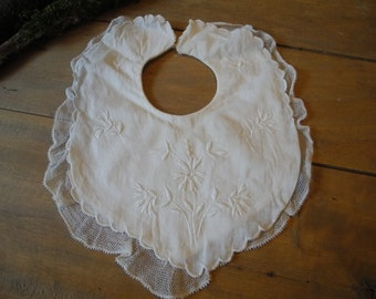 Vintage French embroidered bib