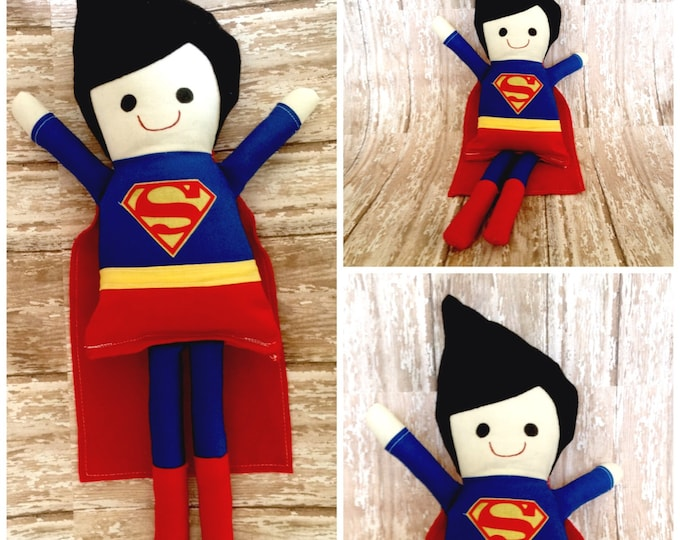 "Superman Inspired 16"" Rag Doll"