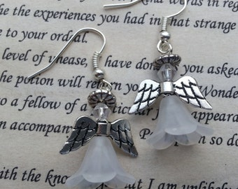 Christmas Earrings, Angel Earrings Guardian Angel Dangle Earrings in White, Dangle Earrings.
