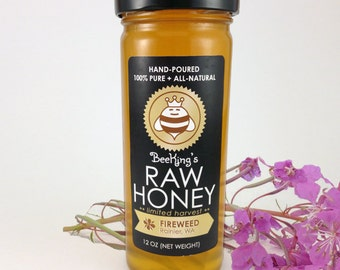 Raw FIREWEED Honey - Hand-Poured, 100% Pure & All-Natural (12 oz)
