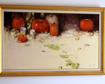 Still Life with Pumpkins Original  painting Handmade Kitchen art Realism 22 x 40 in Gallery quality One of a Kind Ready to hang Large size