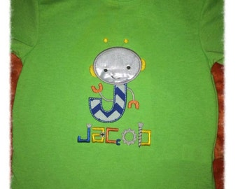 Robot Alphabet Personalized Applique Shirt