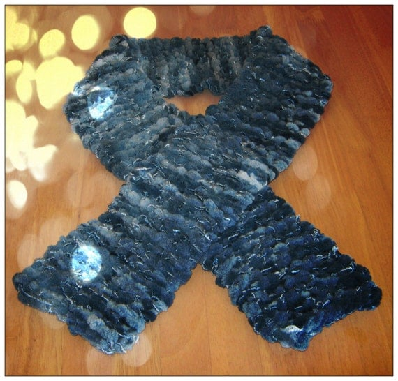 Handmade Beautiful & Warm Scarf in Blue Shades