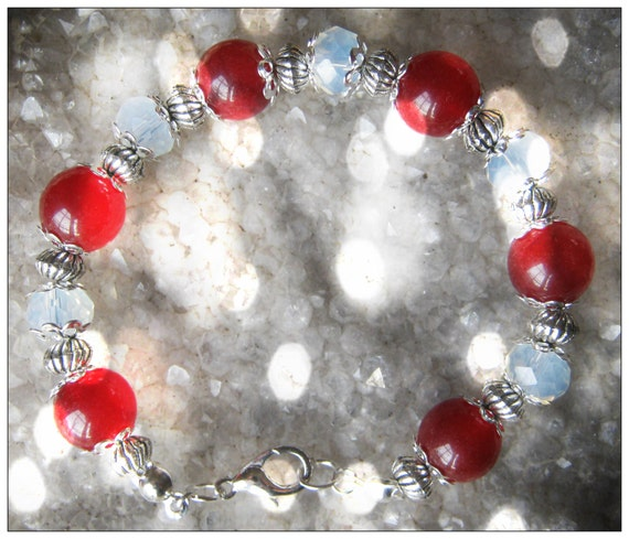 Handmade Silver Bracelet with Ruby & Facetted White Opal by IreneDesign2011