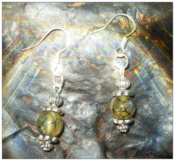 Handmade Silver hook Earrings with Green Dream Dragon Fire Vein Agate