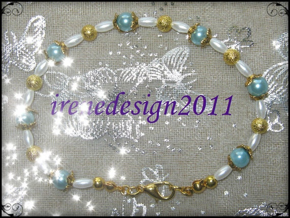 Beautiful Handmade Gold Bracelet with Blue & White Pearls and Butterflies