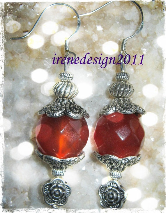 Handmade Silver Earrings with Facetted Carneol & Roses by IreneDesign2011