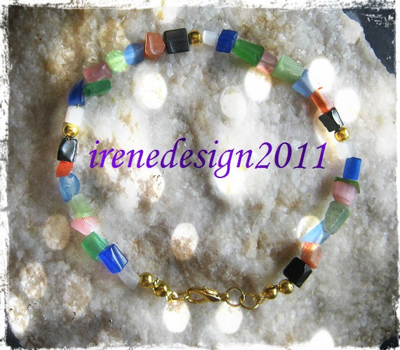 Beautiful Handmade Gold Bracelet with Mixed Gemstones by IreneDesign2011