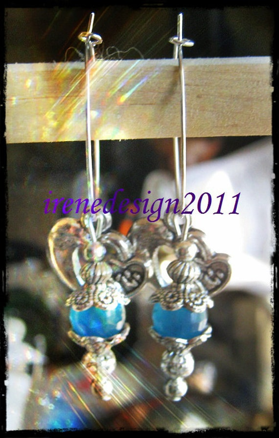 Silver Hoop Earrings with Facetted Blue Chalcedony & Hearts by IreneDesign2011