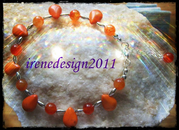 Beautiful Silver Anklet with Orange Howlite Drops & Carneol, Adjustable by IreneDesign2011
