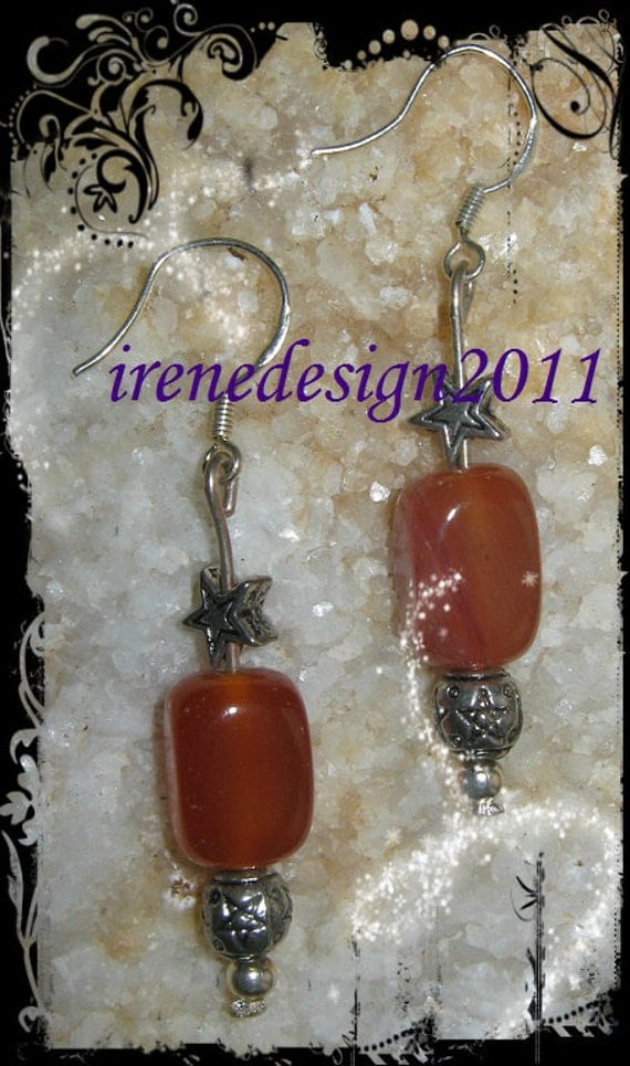 Handmade Silver Earrings with Orange Carnelian & Star by IreneDesign2011
