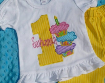 Personalized Birthday Triple Cupcake Applique Shirt or Onesie Girl or Boy