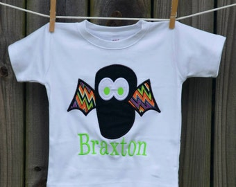 Personalized Halloween Initial Bat Applique Shirt or Onesie for Boy or Girl