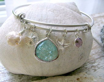 Personalized Erinite Bangle Aquamarine Sand dollar birthstone Pearl starfish Bangle swarovski bangle Beach Wedding march birthstone bangle
