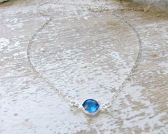 Sapphire Birthstone Necklace Sapphire Necklace Sapphire Jewelry Custom Birthstone Necklace Bridesmaid Gifts Swarovski Birthstone Jewelry