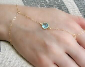 Gold Hand Chain Ring 14k Gold Hand Chain Ring Bracelet Birthstone Slave Bracelet Personalized Chain Bracelet Finger Bracelet Aquamarine gift